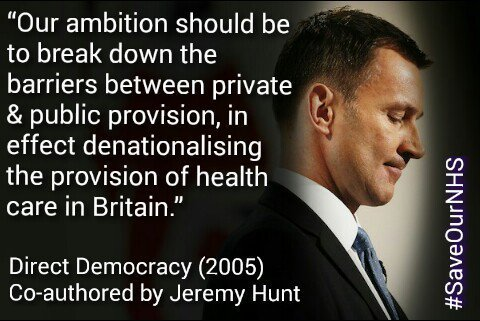 Our ambition should be to break down the barriers between private and public provision, in effect denationalising the provision of health care in Britain - Jeremy Hunt, Direct Democracy, 2005