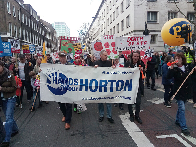 Horton supporters marching