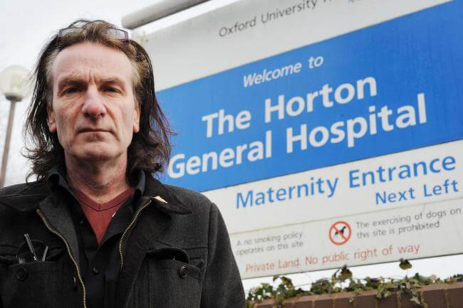 Keith Strangwood outside Horton General Hospital