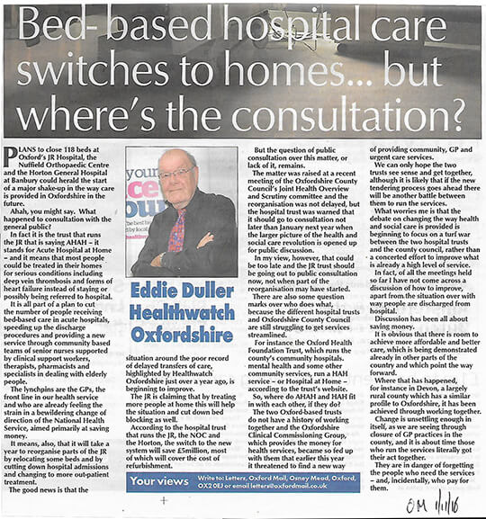 Eddie Duller on lack of consultation, Oxford Mail, November 2016