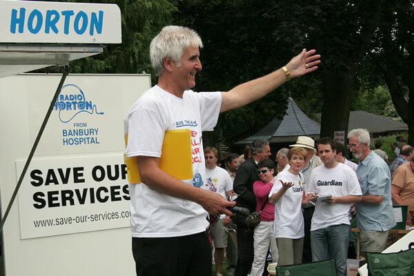 George Parish speaking at a protest rally during the 2006-2008 campaign