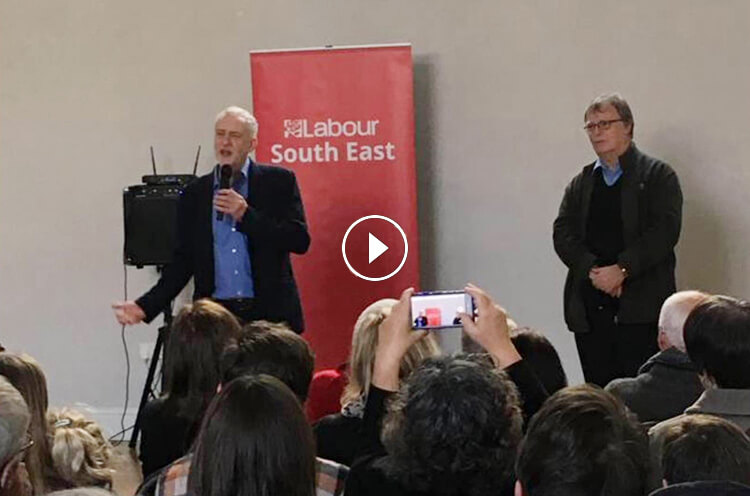 Jeremy Corbyn speaking to a packed hall, Oxford, November 2016
