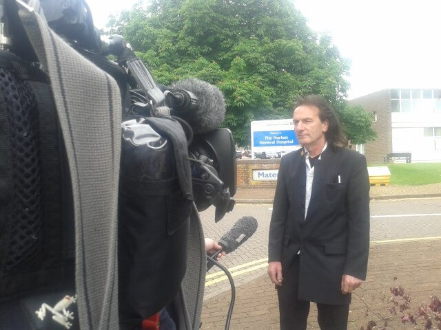 KTHG chair talks to BBC news outside Horton General Hospital maternity unit