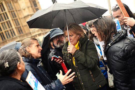 Rachael Maskell MP speaks to reporter Roseanne Edwards