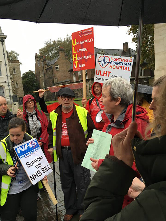 Bill sponsor Margaret Greenwood MP speaks to campaigners outside the 2nd reading of the NHS bill