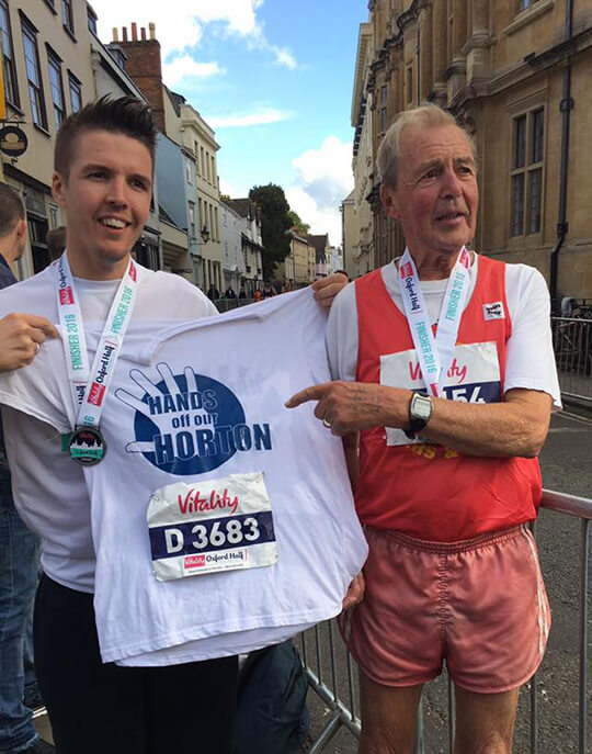 marathon runners Simon Evans and his 80 year old father