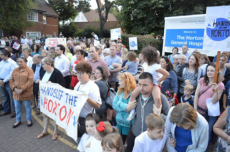 File photo of protesters outside Horton General Hospital, summer 2016